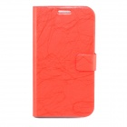Flower Show Protective PU + PC Case w/ Stand / Card Slots for Samsung Note 2 N7100 - Red