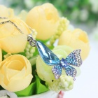 EQute PCOW4C5 Fashionable Shiny Blue Crystal Butterfly Pendant Necklace - Blue + Silver