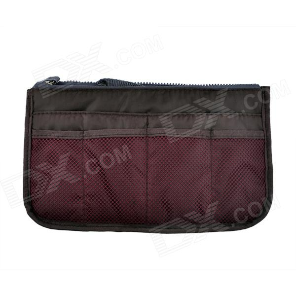14056 Thickened Double Zipper Nylon Organizer Bag - Dark Red + Black