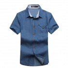 Men's Stylish Short Sleeve Denim Shirt - Blue (XL)