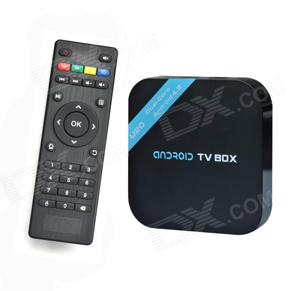 DITTER U20 Dual-Core Android 4.2 Google TV HD Player w/ 1GB RAM / 4GB ROM / HDMI - Black шапка для бани и сауны matti матти цвет бежевый размер m 166