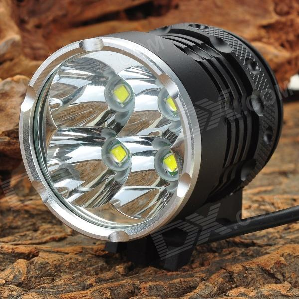 HASKY K4P 4-LED 3000lm 4-Mode White Bicycle Light - Black (4 x 18650)