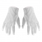 Anti-skid Stripe Dacron + Rubber Gloves - White (Pair)