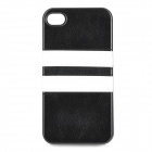 HHEC-262 Protective PU Leather + TPU Back Case for IPHONE 4 / 4S - Black