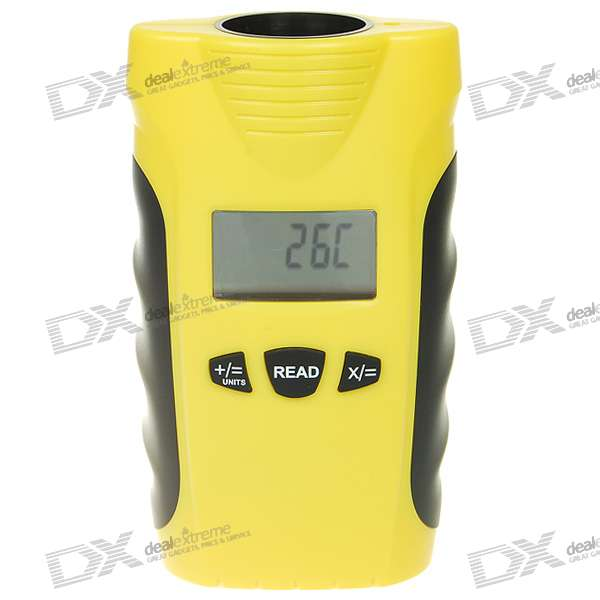 1.4 LCD Mini Ultrasonic Range/Distance Meter with Laser Guide - Orange (0.5m~18m/1*6F22)