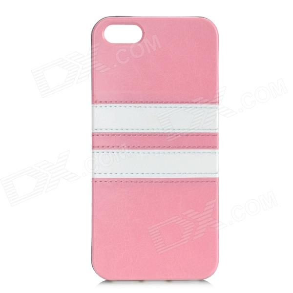 HHEC-263 Protective PU + TPU Back Case for IPHONE 5 / IPHONE 5S - Pink elegance tpu pc hybrid back case with kickstand for iphone 7 plus 5 5 inch red