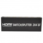 2-a-4 Full HD 1080P con color profundo HD Audio 3D HDMI Splitter / Aux / SPDIF - Negro (2-en-4-Out)