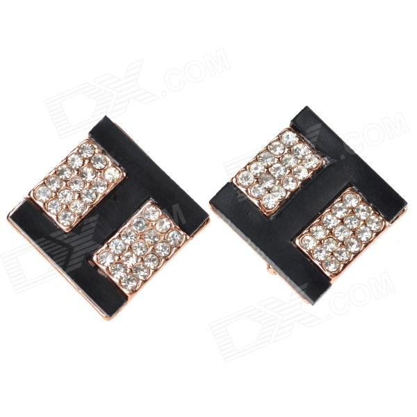 ''H'' Shaped Zinc Alloy + Diamond Earrings for Wonen - Black + Golden + Multi-Colored fashionable flower shaped zinc alloy earrings for women golden black multi colored pair
