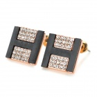 ''H'' Shaped Zinc Alloy + Diamond Earrings for Wonen - Black + Golden + Multi-Colored