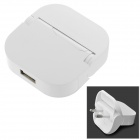 LIT JLC-TC01 Portable Folding USB EU Plug Power Adapter - White (100~240V)