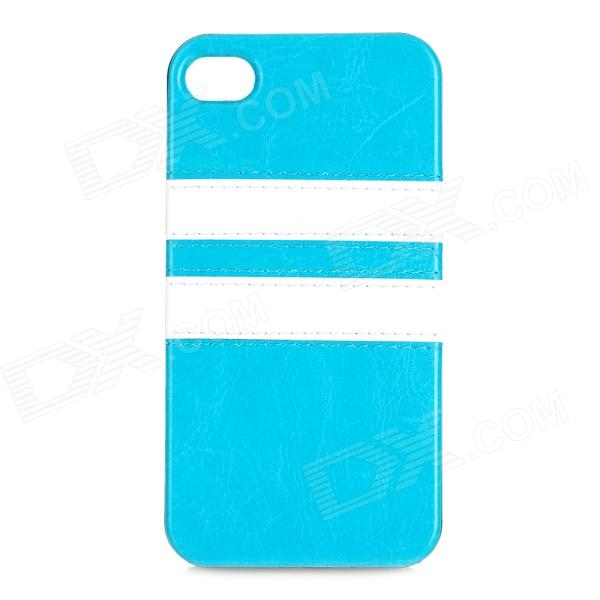 HHEC-262 Protective PU Leather + TPU Back Case for IPHONE 4 / 4S - Blue protective pu leather pc back case for iphone 4 4s sky blue