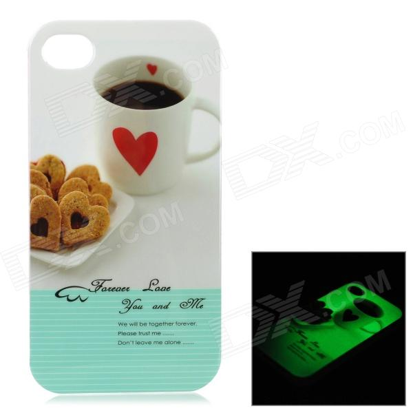 Cup & Love Heart Biscuits Style Glow-in-the-Dark Protective TPU Back Case for IPHONE 4 / 4S - White