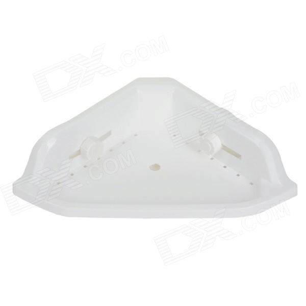 Triangle Shelf Small Gadgets Holder w/ Suction Cup for Kitchen / Bathroom - White