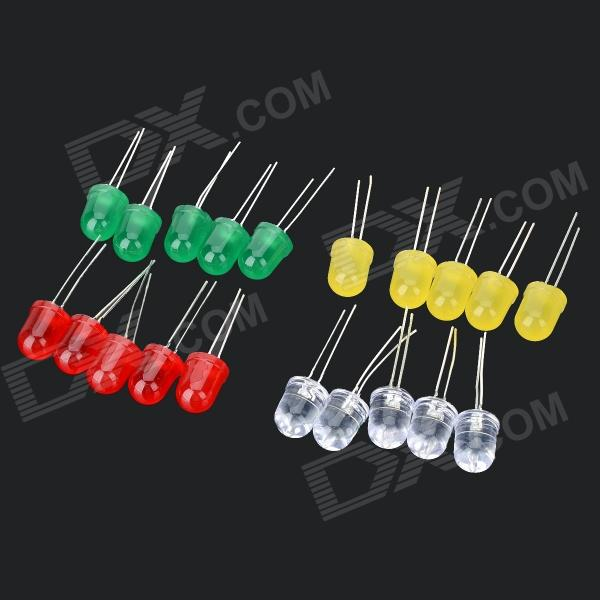 WLXY WL-5110 10mm LED Emitting Diode Set - Red + Green + White + Yellow лесина екатерина золотые ласточки картье