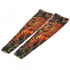 JUQI Tiger Pattern Nylon + Spandex Oversleeve - Black + Dark Orange (Pair)