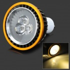 GU10 6W 600lm 3500K Warm White 3-LED Light Bulb - Black + Golden (AC 85~265V)