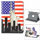 Flag of US & Statue of Liberty Pattern Rotatable PU Case w/ Stand for Amazon Kindle Fire HDX7