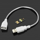 0.3W 3-SMD 2835 LED White USB Lamp w/ Extending Snake Tube - Black + Yellow