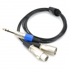 1-to-2 6.35 Male to XLR Male + Female Cable - Black + Silver + Multi-Colored (109cm)