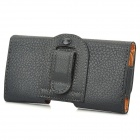 Lichee Pattern Protective PU Leather Case w/ Back Splint for Samsung Galaxy S5 - Black