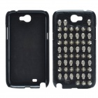 Punk Style Rivet Skulls Protective PU Leather Back Case for Samsung Galaxy Note 2 N7100 - Black