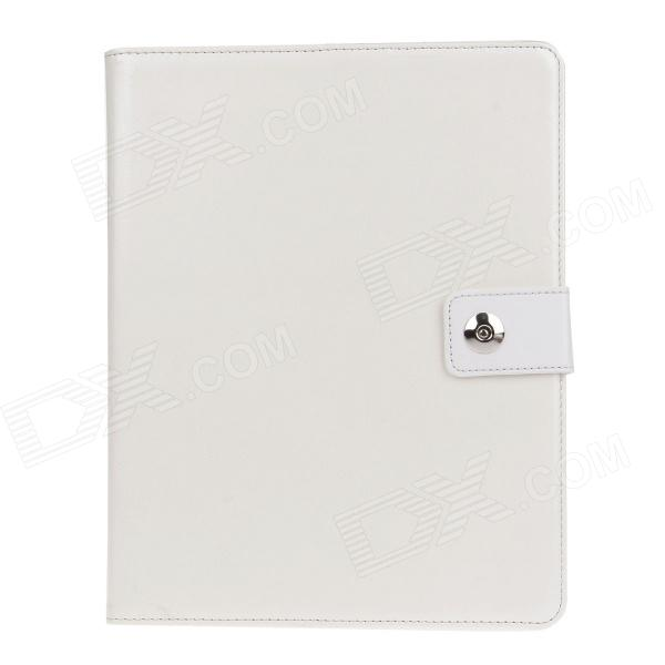 Stylish PU Leather Card Holder Stand Case Cover w / Auto Sleep/wake Function for IPAD 2/3/4 - White multi function pu leather case vent holes sound amplifier for ipad 3 4 orange
