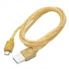 CMI Universal USB 2.0 Male to V8 Male Data Sync / Charging Fluorescent Cable - Golden (100cm)