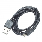 CMI Universal USB 2.0 Male to V8 Male Data Sync / Charging Fluorescent Cable - Black (100cm)