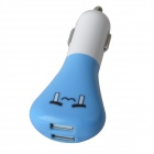 Dual USB Car Charger w/ Lovely Emoticons - Blue + White  (12~24V)