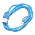 CMI Universal USB 2.0 Male to V8 Male Data Sync / Charging Fluorescent Cable - Blue (100cm)
