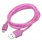 CMI Universal USB 2.0 Male to V8 Male Data Sync / Charging Fluorescent Cable - Pink (100cm)