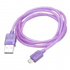 CMI Universal USB 2.0 Male to V8 Male Data Sync / Charging Fluorescent Cable - Purple (100cm)