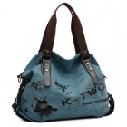 Multifunctional Graffiti Pattern Single Shoulder Canvas Bag  - Blue