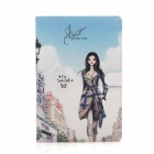 Cute Series Protective PU Leather Case Cover Stand w / Auto Sleep for IPAD AIR - Blue + White