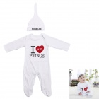 HY3621 Cotton Baby's Long Sleeve Infant Romper Clothes w/ Hat - White + Black + Red (Size S)