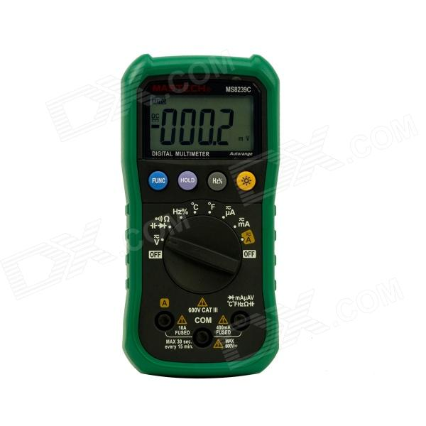 MASTECH MS8239C 4-digit Auto Range Mini Multimeter w/ TEMP & Capacitance - Black + Green