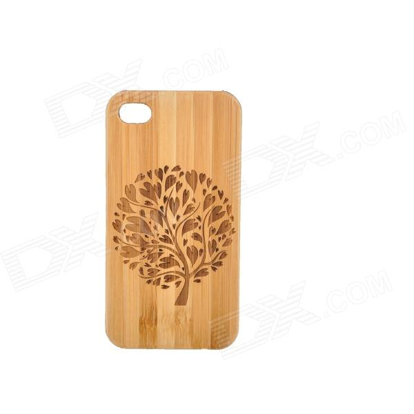 Peach Tree Pattern Protective Bamboo Back Case for IPHONE 4 / 4S - Brown