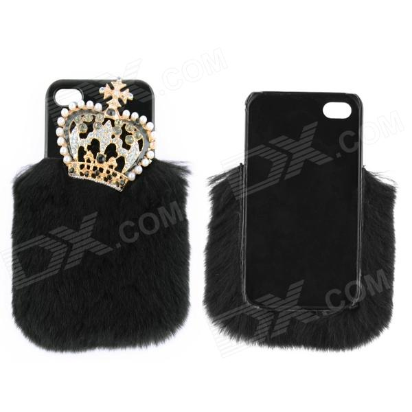 Fashionable Plastic + Rabbit Hair + Rhinestone Crown Style Back Case for IPHONE 4 / 4S - Black 2017 winter new clothes to overcome the coat of women in the long reed rabbit hair fur fur coat fox raccoon fur collar