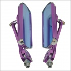 0928-2 Rectangle Motorbike Repair Parts Rearview Mirrors - Purple (2PCS)