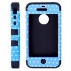 HM01 Lovely Heart Pattern Protective Silicone Back Case for IPHONE 4 / 4S - Black + Blue