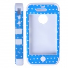 HW01 Lovely Heart Pattern Protective Silicone Back Case for IPHONE 4 / 4S - White + Blue