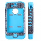 HM01 Ferris Wheel Pattern Protective Silicone Back Case for IPHONE 4 / 4S - Black + Blue