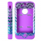 HM01 Zigzag Anchor Pattern Protective Silicone Back Case for IPHONE 4 / 4S - Black + Purple