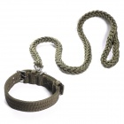 Nylon Big Dog Leash w/ Adjustable Collar - Army Green (Size L)