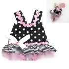 DHY2145 Lovely Princess Skirt Baby's Infant Romper Clothes - Black + White + Pink (Size S)