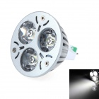 LUO V27 GX5.3 3W 300lm 6000K 3-LED White Spotlight Lamp - Silver Grey + White (12V)