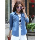 Women's Fashionable Long-sleeve Jeans Shirt - Sky Blue (L)