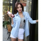 Women's Fashionable Long-sleeve Jeans Shirt - Sky Blue (M)