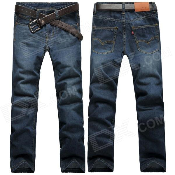 Men's Fashionable Slim Straight Jeans Pants - Dark Blue (Size 36) new hot sales mens jeans slim straight high quality jeans men pants hip hop biker punk rap jeans men spring skinny pants men