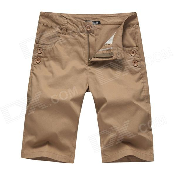 Men's Fashionable Casual Cozy Cotton Short Fifth Pants - Khaki (Size 34)